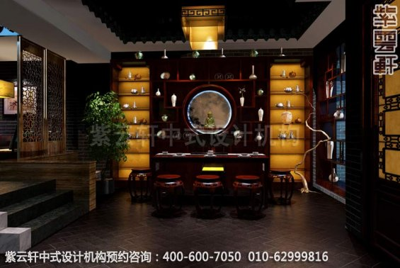 会所茶室中式装修效果图_哈尔滨现代中式茶馆