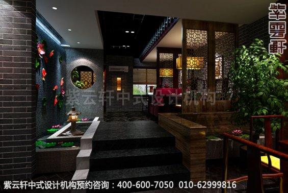 会所水景区中式装修效果图_哈尔滨现代中式茶馆