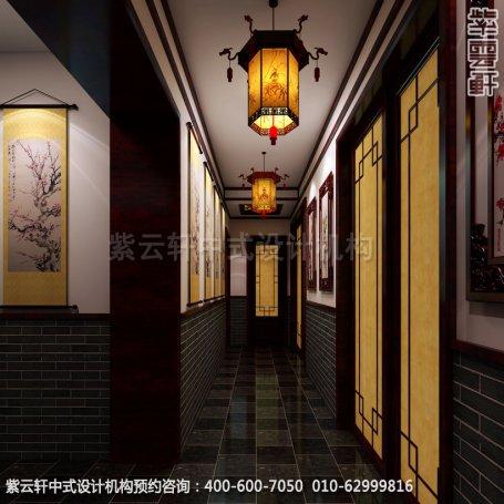 走廊中式装修效果图_哈尔滨现代中式茶馆