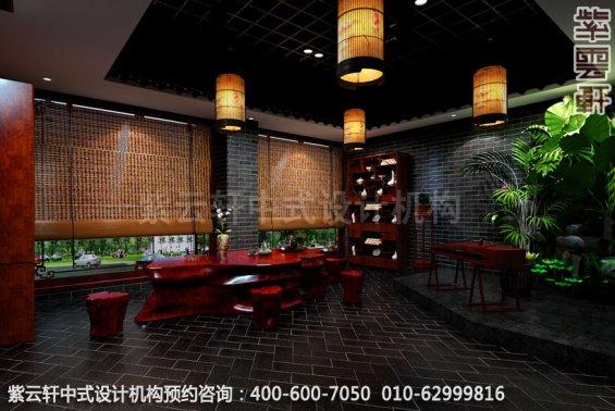 琴台中式装修效果图_哈尔滨现代中式茶馆