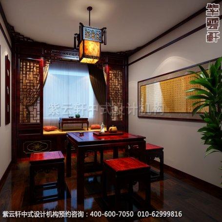 三层包间中式装修效果图_哈尔滨现代中式茶馆