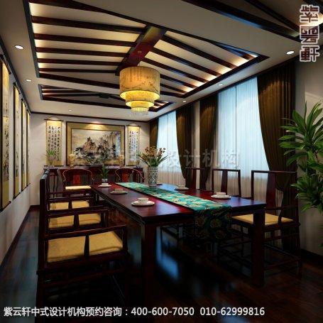 三层中包中式装修效果图_哈尔滨现代中式茶馆