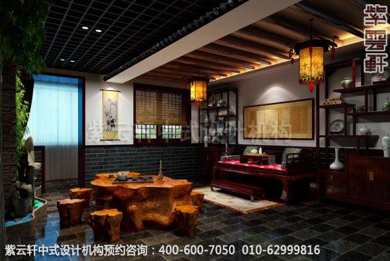 三层大包中式装修效果图_哈尔滨现代中式茶馆