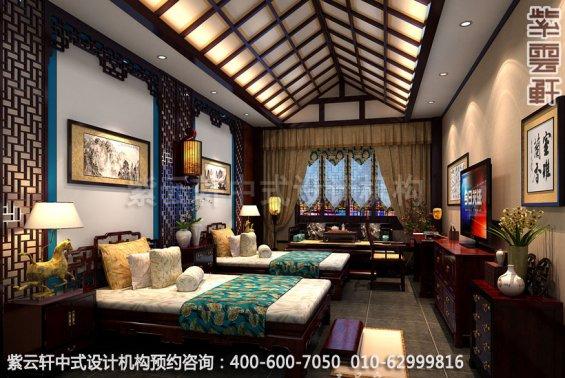 客房中式装修效果图_贵州古典酒店中式设计案例