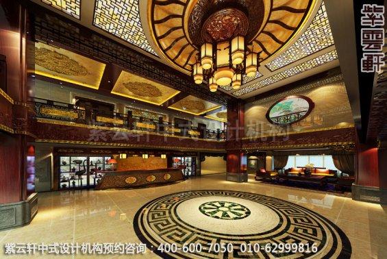 酒店大厅中式装修效果图_湖南古典酒店中式设计案例