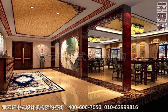 酒店餐厅中式装修效果图_湖南古典酒店中式设计案例