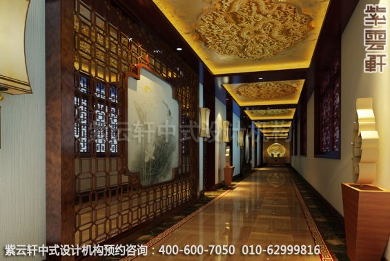 酒店过道中式装修效果图_湖南古典酒店中式设计案例