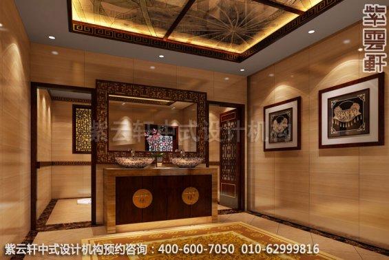 酒店公共卫生间中式装修效果图_湖南古典酒店设计案例
