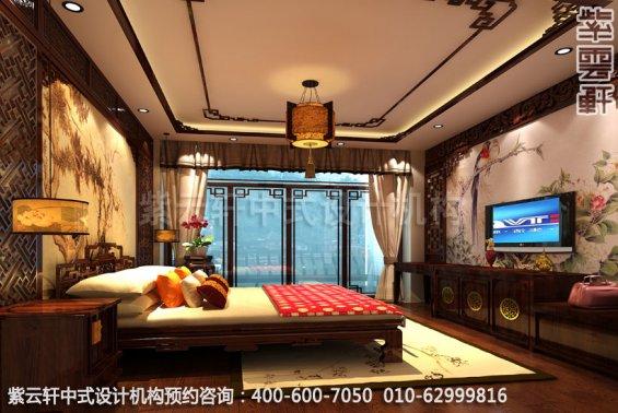 酒店大床房D中式装修效果图_湖南古典酒店中式设计案例
