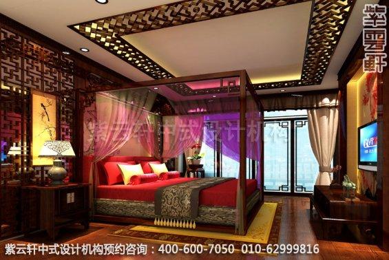 酒店大床房C中式装修效果图_湖南古典中式设计案例