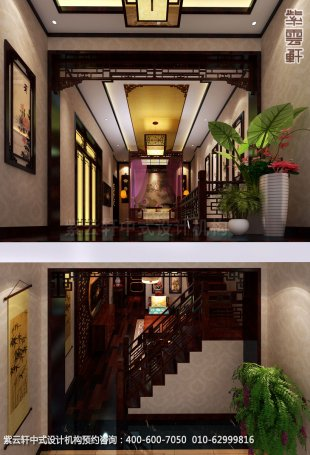 酒店复式套间中式装修效果图_湖南古典中式设计案例