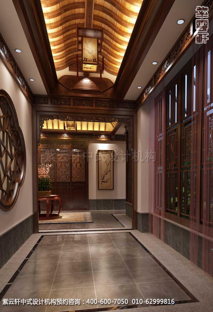 会所过道中式装修效果图 江苏新中式私人会所设计案例高清图片