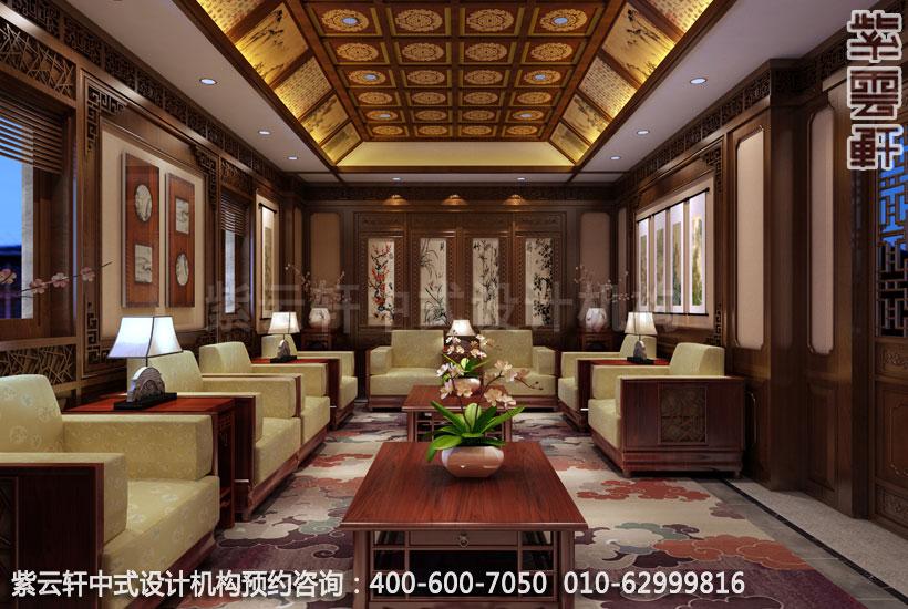 会所接待室中式装修效果图 江苏新中式会所中式设计案例高清图片
