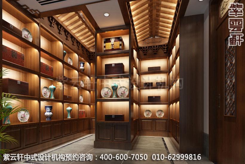 会所展览室中式装修效果图_江苏新中式会所中式设计案例