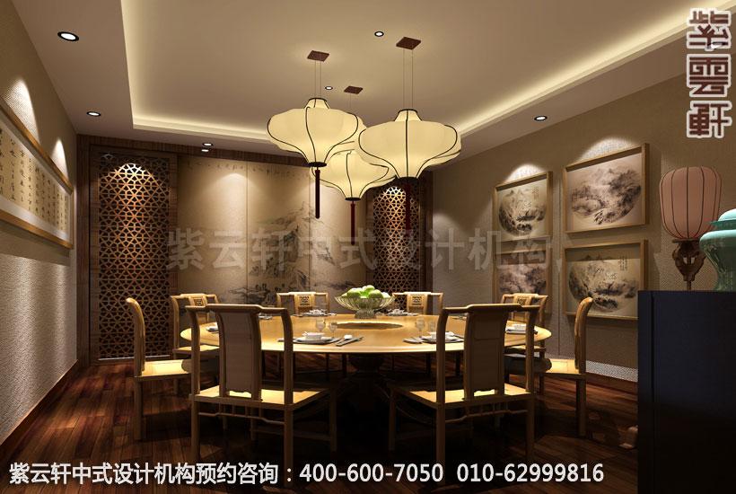 会所二层餐厅中式装修效果图_沈阳简约会所中式设计案例