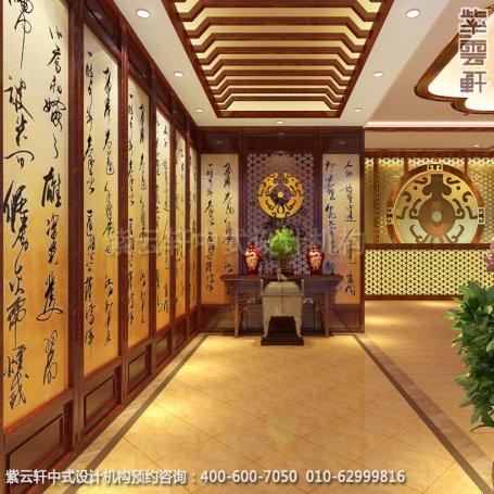 会所门厅中式装修效果图_湖北古典会所中式设计案例
