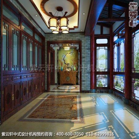 住宅玄关中式装修效果图_成都古典复式住宅中式设计案例