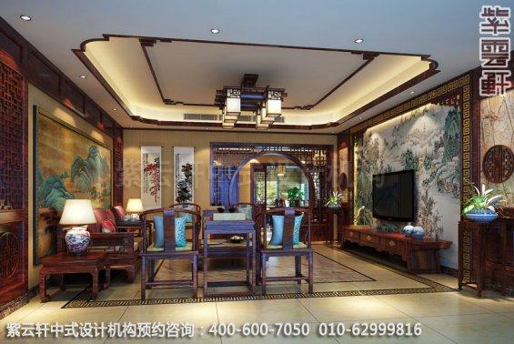 住宅客厅中式装修效果图_成都古典复式住宅中式设计案例
