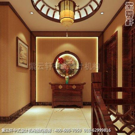 住宅楼梯间中式装修效果图_成都古典住宅中式设计案例