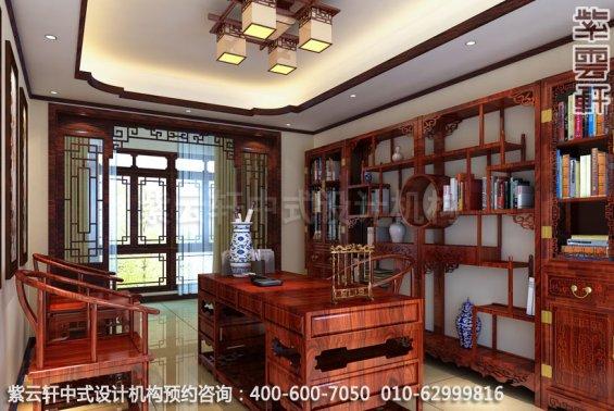 住宅书房中式装修效果图_成都古典住宅中式设计案例