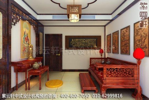 住宅佛堂中式装修效果图_成都古典住宅中式设计案例