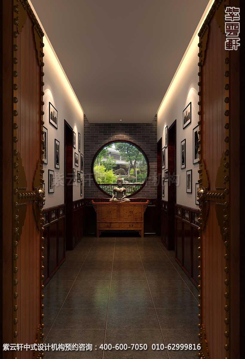 别墅一层过道中式装修效果图_青岛古典别墅中式设计案例