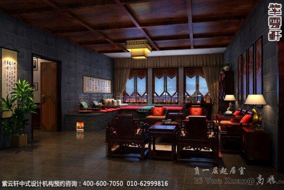别墅客厅中式装修效果图_青岛古典别墅中式设计案例