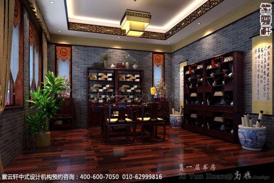 别墅书房与琴台中式装修效果图_青岛古典别墅中式设计案例