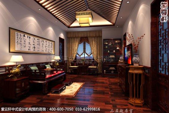别墅接待室中式装修效果图_青岛古典别墅中式设计案例