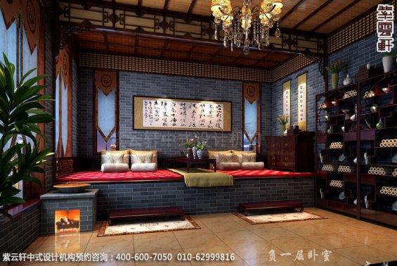 别墅炕台中式装修效果图_青岛古典别墅中式设计案例