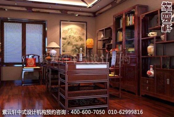 别墅书房中式装修效果图_苏州古典别墅中式设计案例