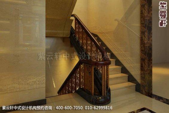住宅楼梯中式装修效果图_现代住宅中式设计案例