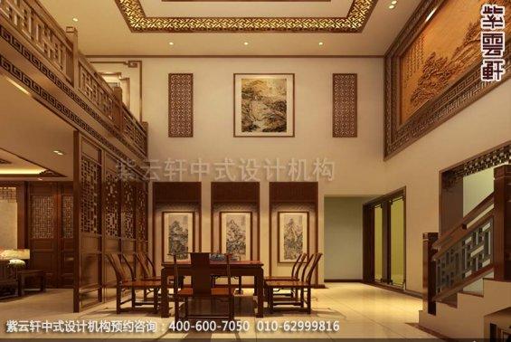别墅餐厅中式装修效果图_广东简约别墅中式设计案例