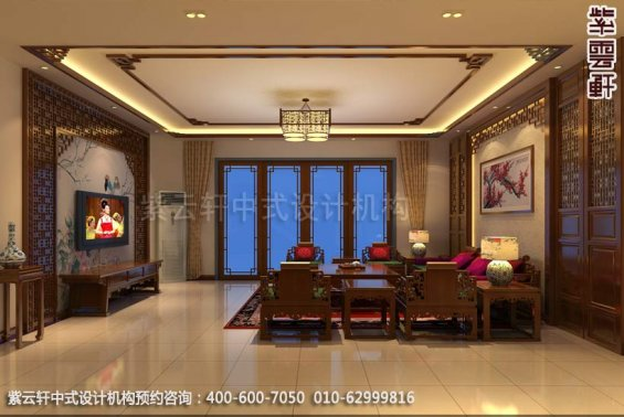 别墅客厅中式装修效果图_广东简约别墅中式设计案例