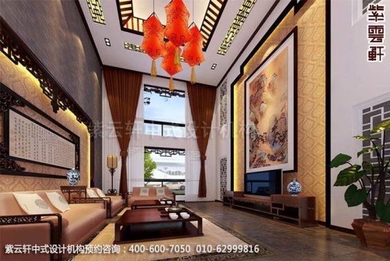 别墅客厅中式装修效果图_现代别墅中式设计案例