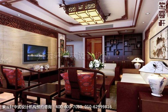 住宅客厅中式装修效果图_古典平层住宅中式设计案例
