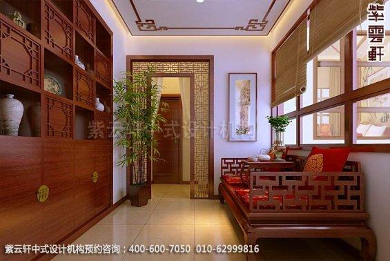 别墅过道中式装修效果图_古典别墅中式设计案例