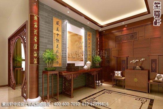 住宅门厅中式装修效果图_住宅古典中式设计案例