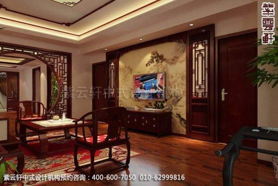 别墅客厅中式装修效果图_天津古典别墅中式设计案例