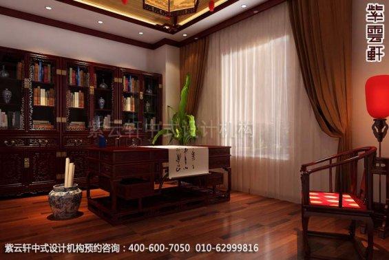 别墅书房中式装修效果图_天津古典别墅中式设计案例
