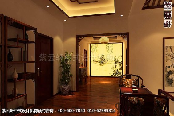 别墅过道中式装修效果图_天津古典别墅中式设计案例