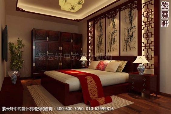 别墅次卧中式装修效果图_天津古典别墅中式设计案例