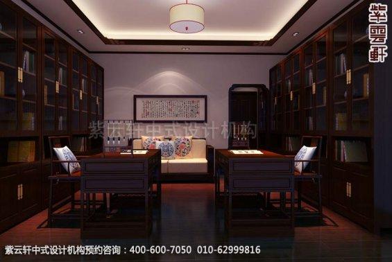 别墅书房中式装修效果图_中山简约别墅中式设计案例
