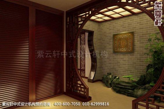 住宅过道中式装修效果图_曲阜现代住宅中式设计案例