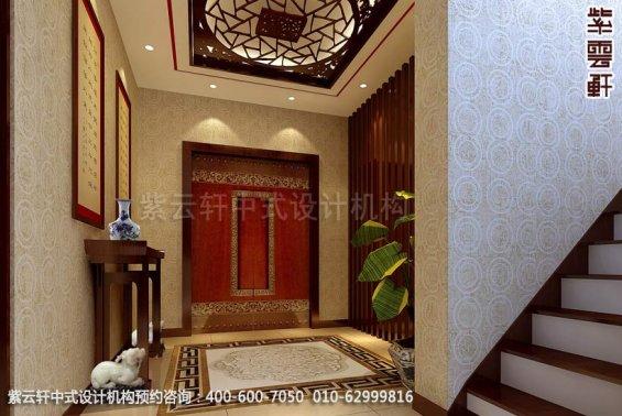 别墅过道中式装修效果图_顺义现代别墅中式设计案例