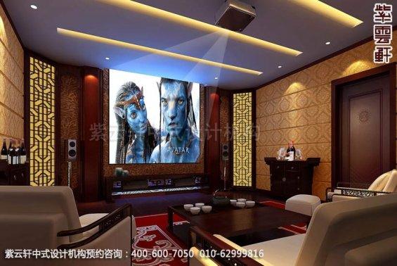 别墅影音室中式装修效果图_顺义现代别墅中式设计案例