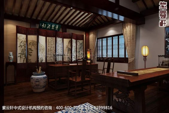 住宅书房中式装修效果图_日照简约住宅中式设计案例