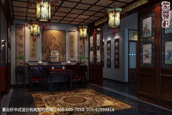 别墅客厅中式装修效果图_大连古典别墅中式设计案例
