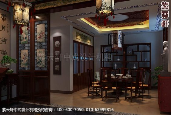 别墅餐厅中式装修效果图_大连古典别墅中式设计案例