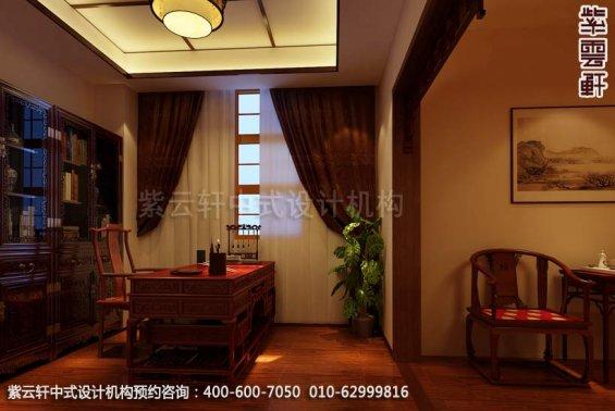 别墅书房中式装修效果图_大连古典别墅中式设计案例